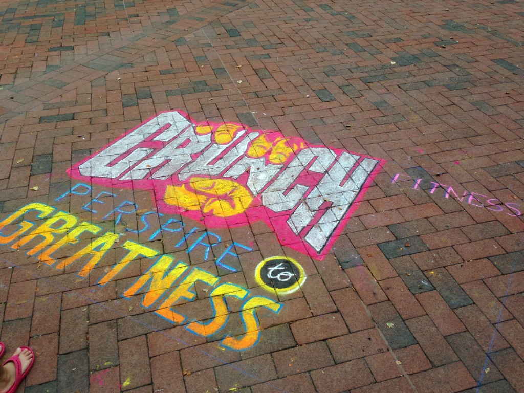 chalkfest reston chalk art drawing of crunch fitness logo
