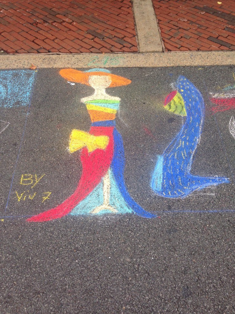 chalkfest reston chalk art drawing of woman in dress and hat