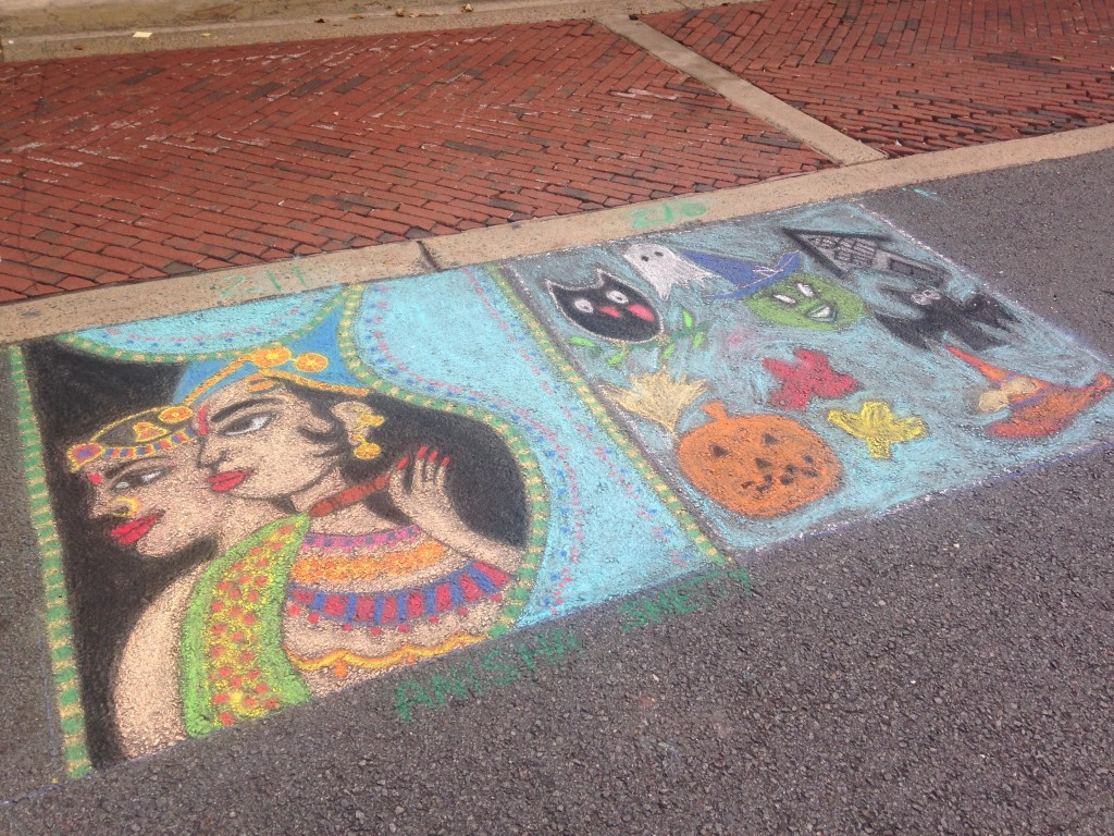 chalkfest reston chalk art drawing of festive cultural people and halloween items