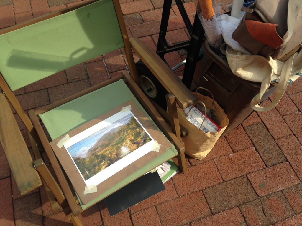 picture on artist's chair of landscape drawn for chalkfest reston