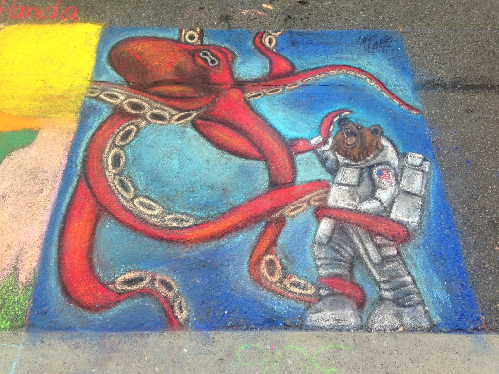 chalkfest reston chalk art drawing of octopus holding astronaut bear