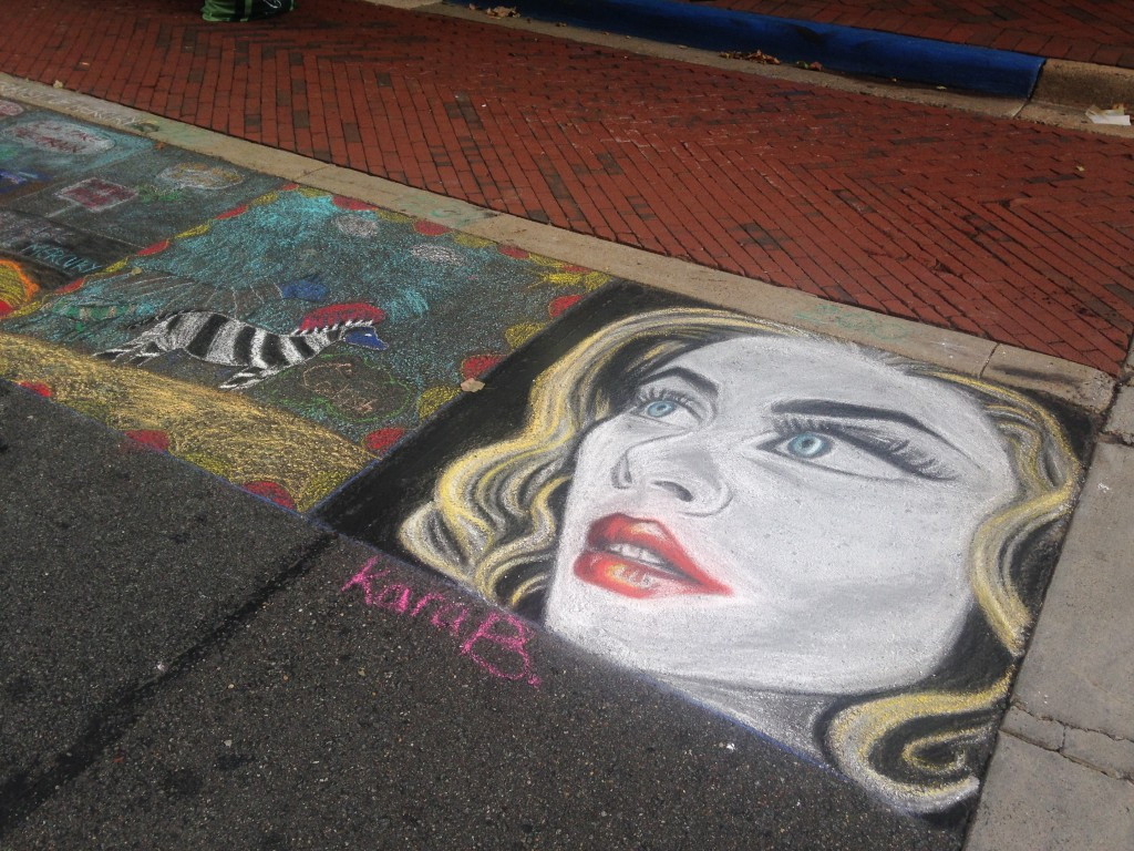 chalkfest reston chalk art drawing of woman's portrait