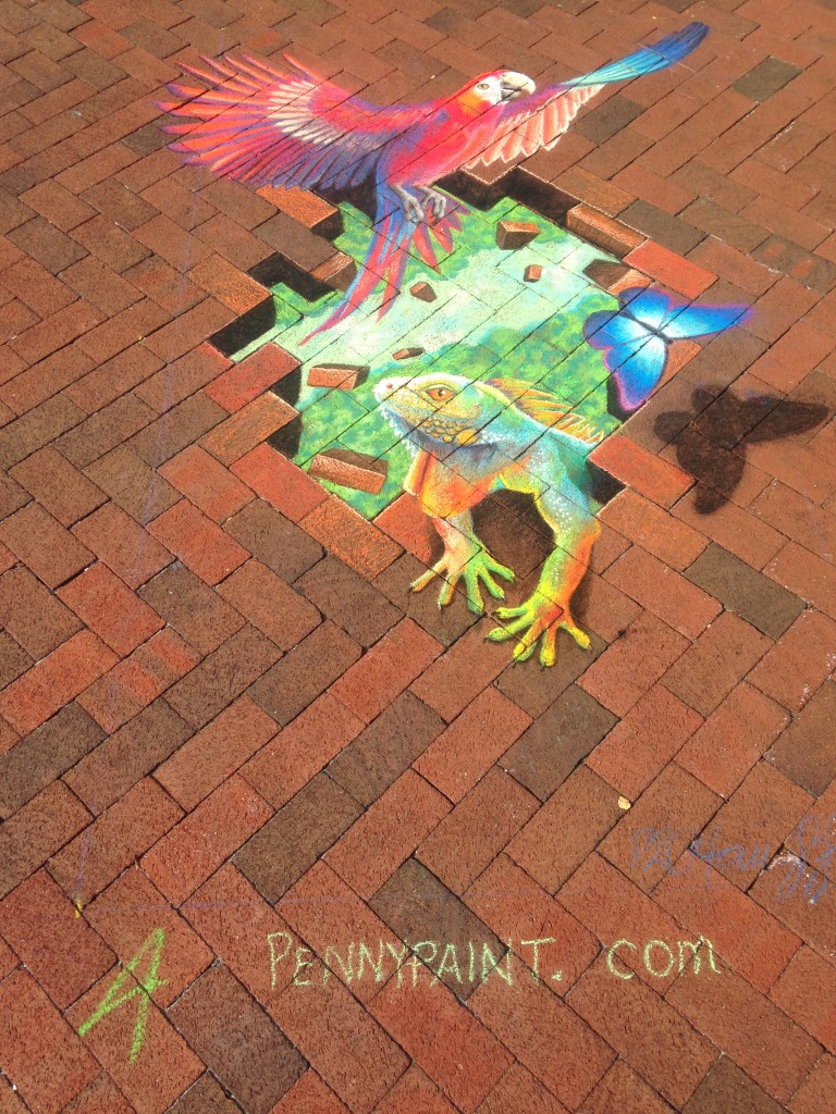 chalkfest reston chalk art drawing of rainforest animals