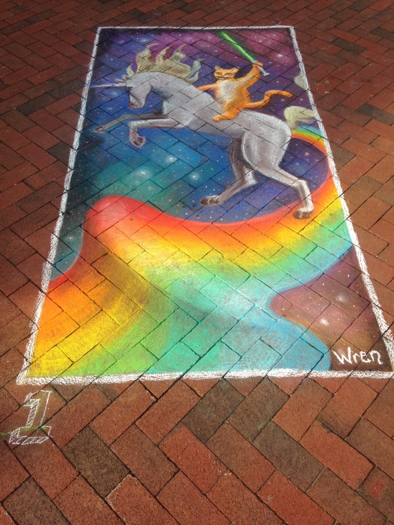 chalkfest reston chalk art drawing of cat holding light saber riding unicorn over rainbow