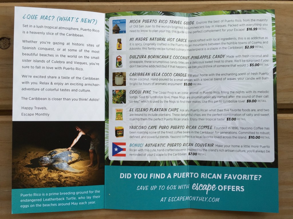escape monthly september puerto rico box info card opened with details of products included