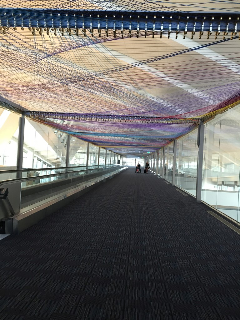 hallway in tom bradley international termina with colorful bands