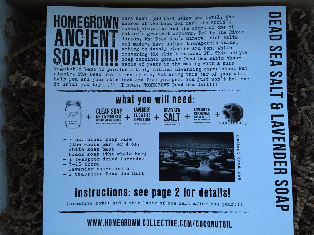 the homegrown collective september 2014 project dead sea salt & lavender soap info card