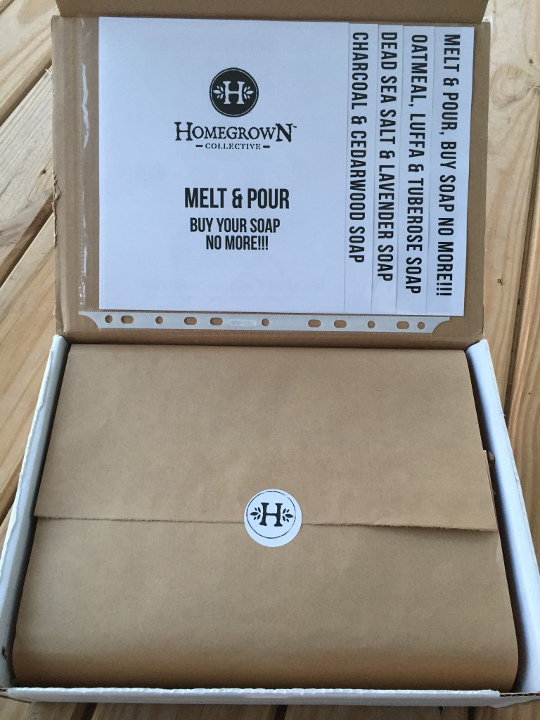 inside of melt & pour homegrown collective box with the info sheets on the inner lid