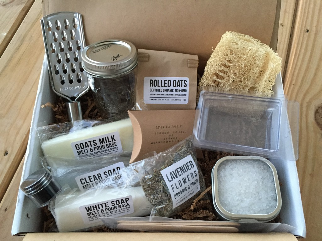 contents of the homegrown collective september 2014 box with melt & pour theme