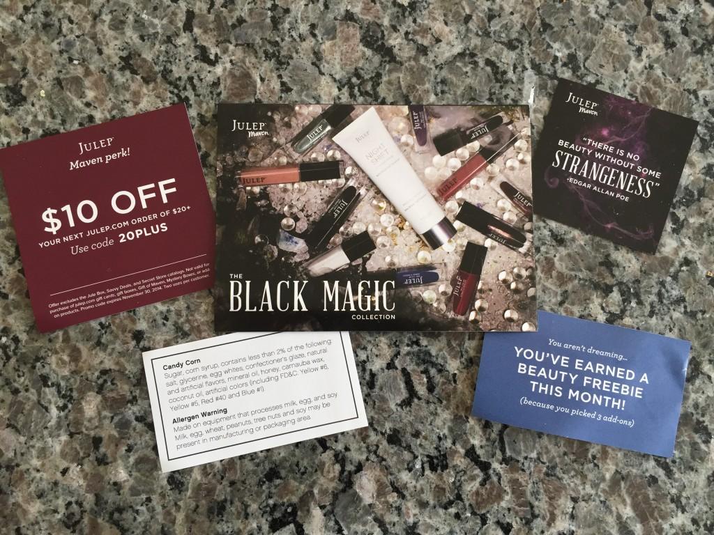 julep black magic collection card, discount offer card, quote card, candy corn info slip, and bonus card