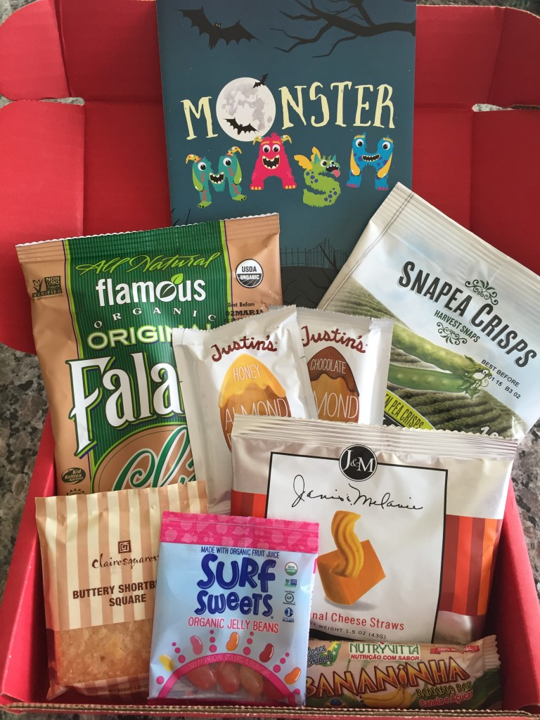 contents of october 2014 love with food box including eight snacks