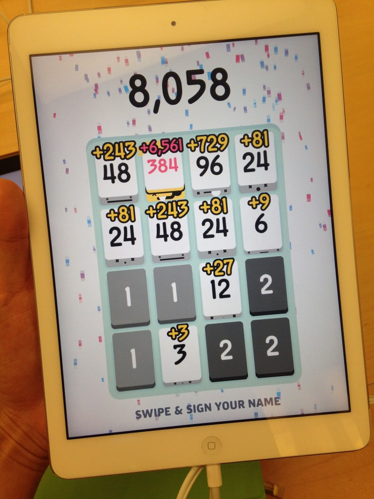 high score of 8058 in game of threes on ipad