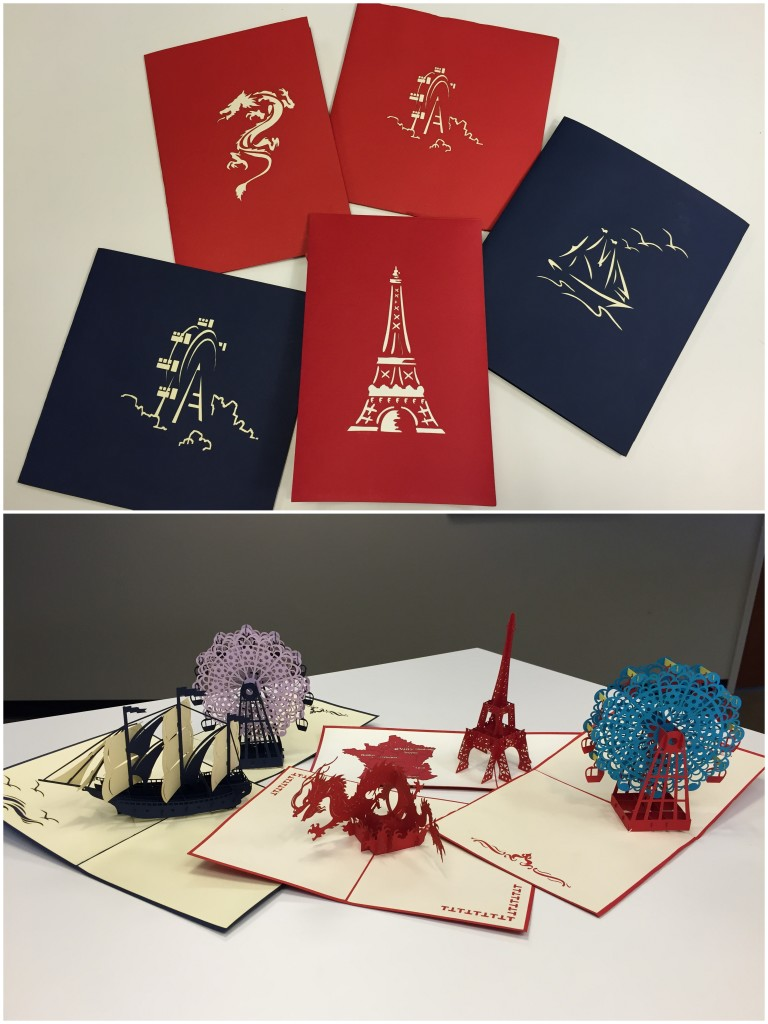 collage of five 3d cards that pop open to ferris wheels, eiffel tower, ship with sails, and dragon designs