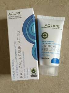 empty acure radical resurfacing facial treatment box and bottle
