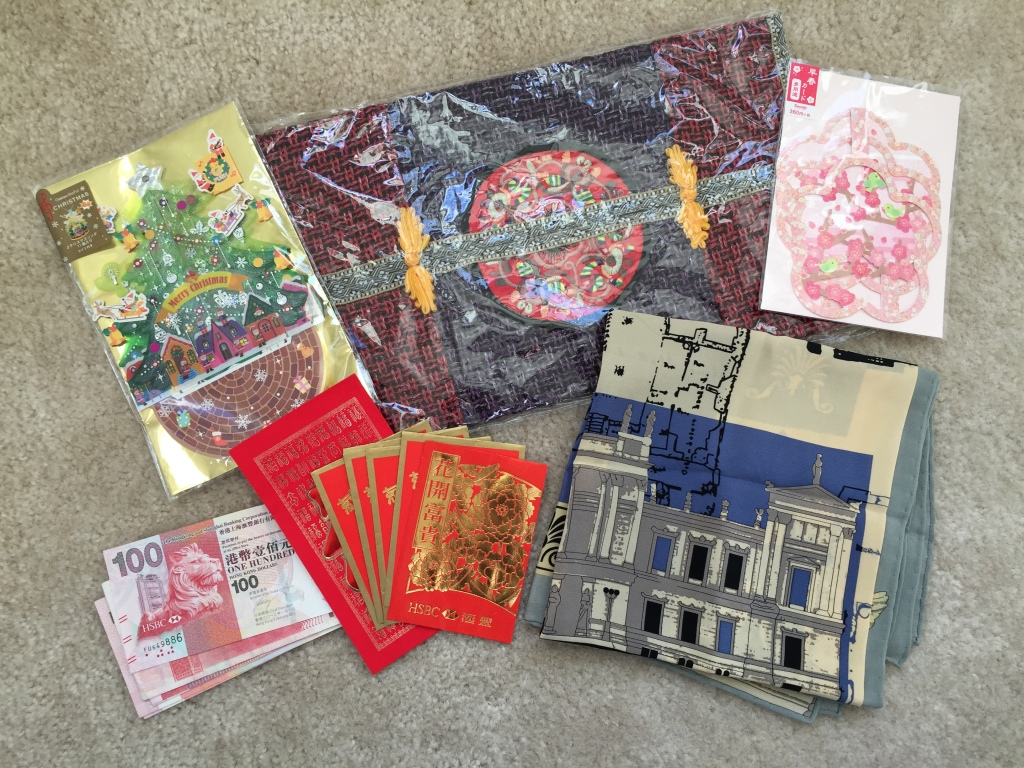 3d holiday cards, tissue box cover, scarf, hong kong dollars, and red envelopes