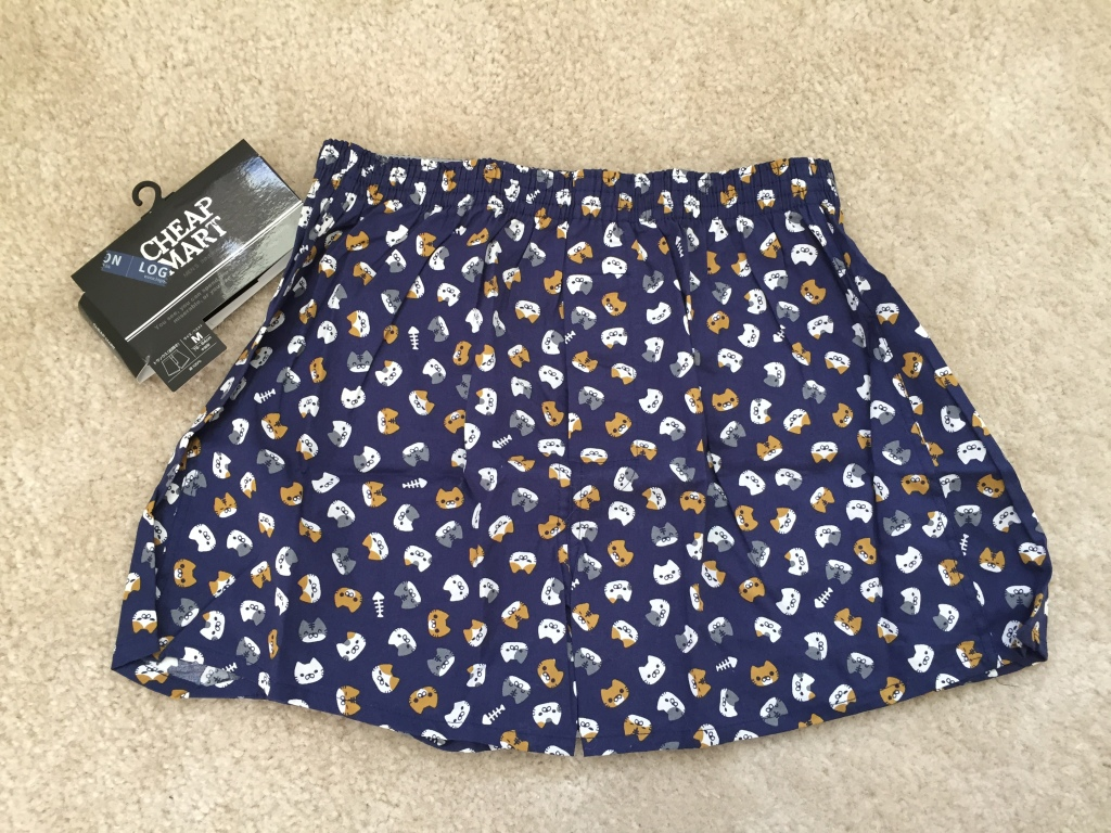navy blue boxers with cat faces