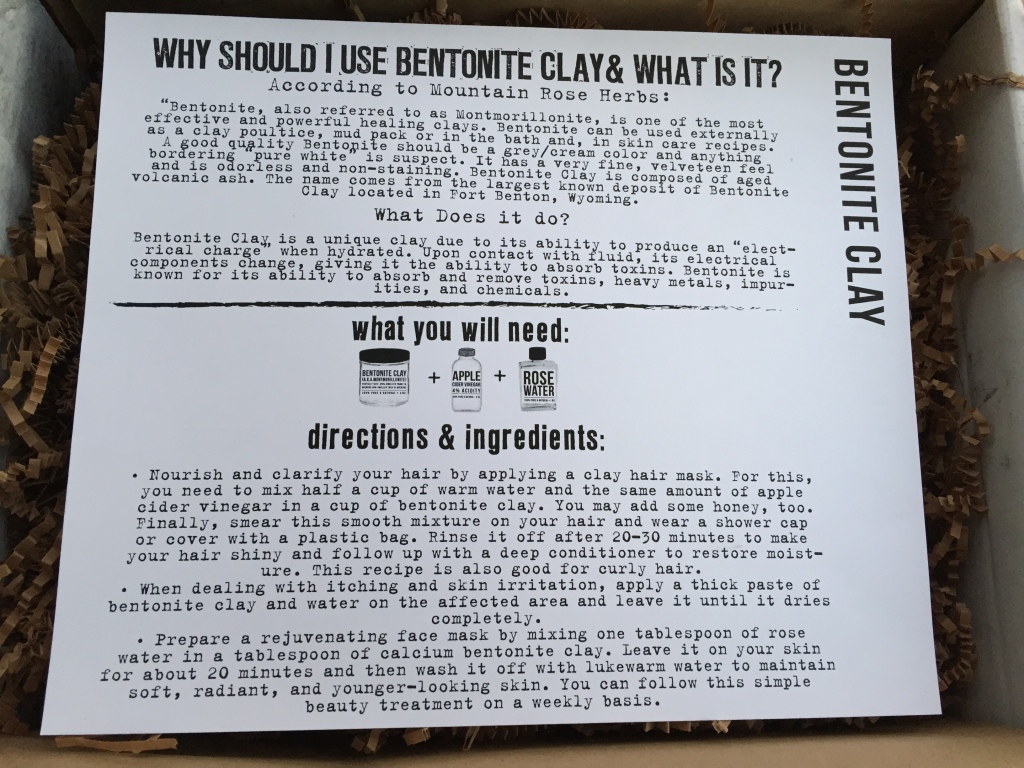 the homegrown collective october 2014 project bentonite clay info card