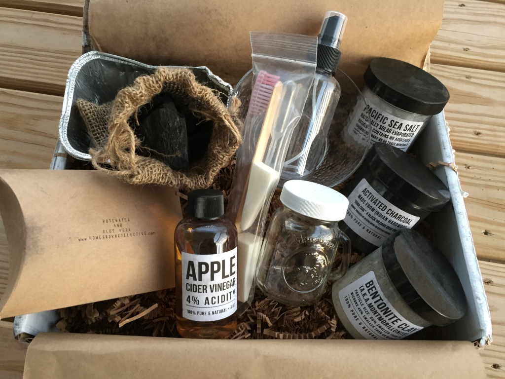 contents of the homegrown collective october 2014 box with carbon & clay theme