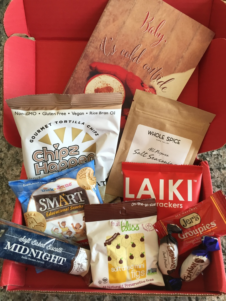 contents of november 2014 love with food box including nine snacks