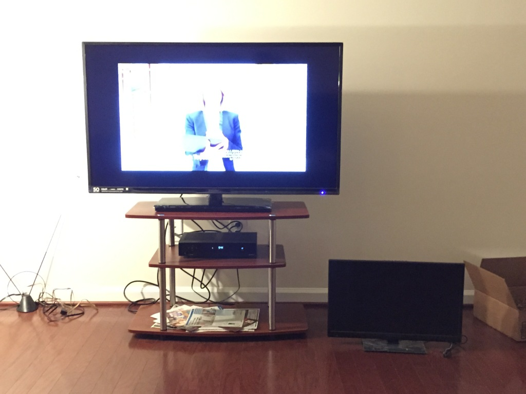 brand new 50 inch tv versus small 24 inch old one