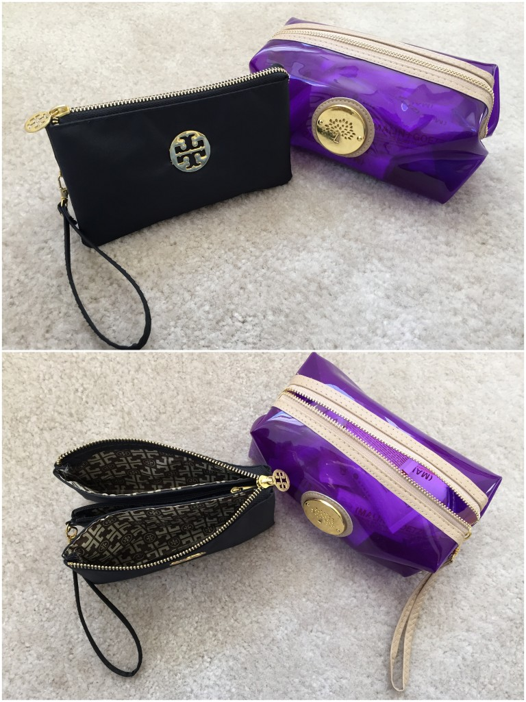 collage of black wristlet pouch with three compartments and clear purple pouch for toiletries