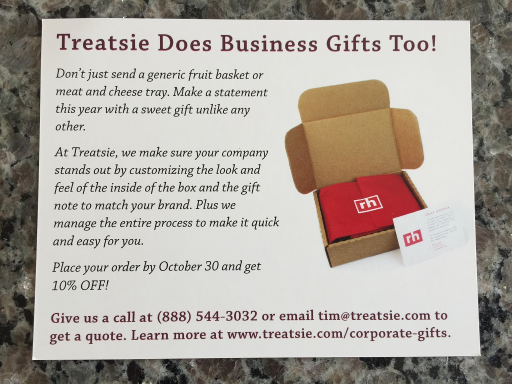 treatsie corporate gift info card