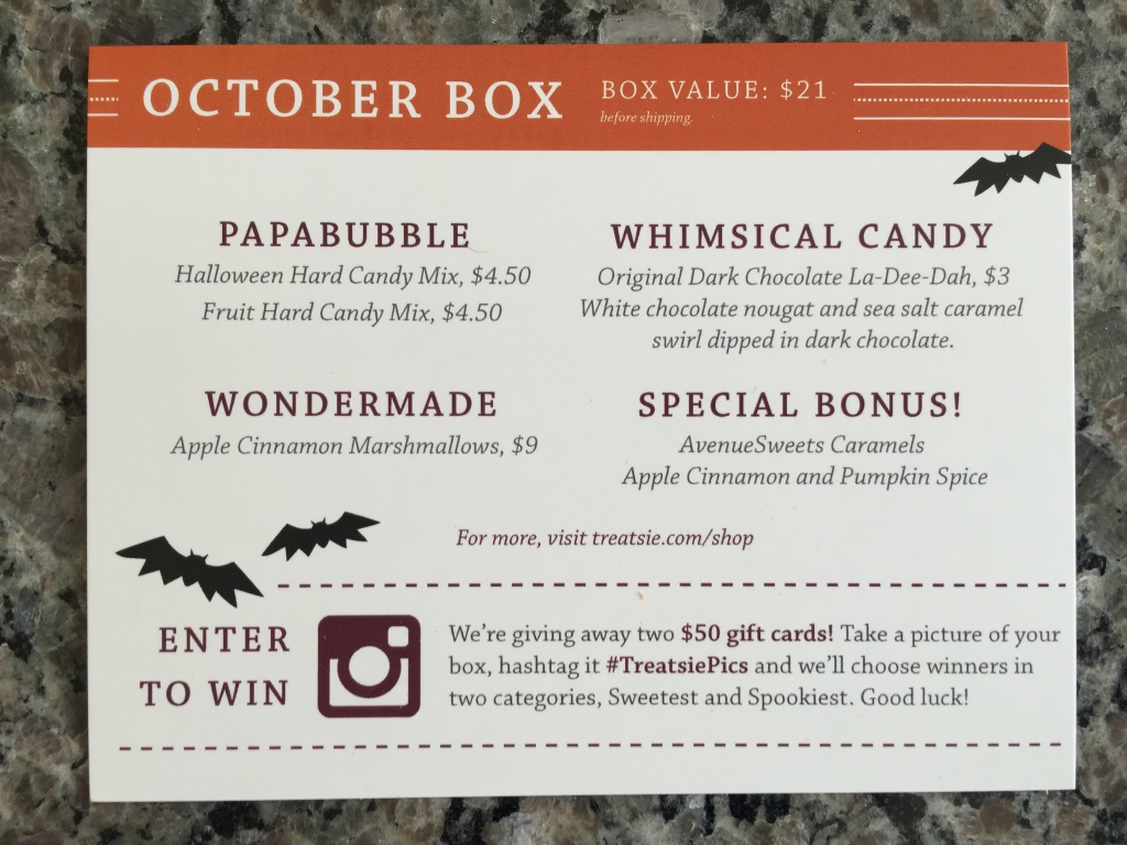 treatsie october 2014 info card