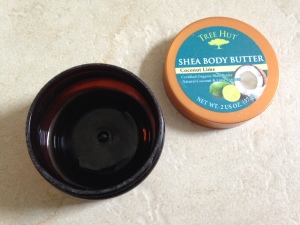 empty tree hut shea body butter in coconut lime container