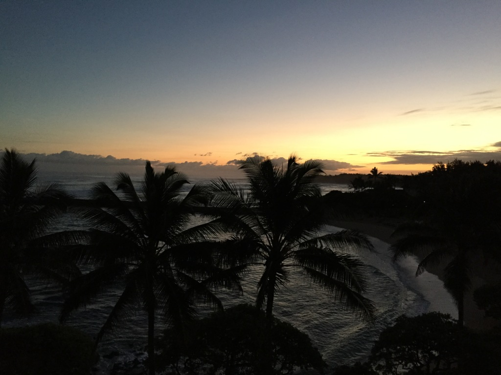 view of sunrise from turtle bay resort hotel room