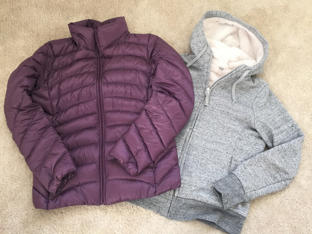 uniqlo purple down jacket and gray fuzzy hooded jacket