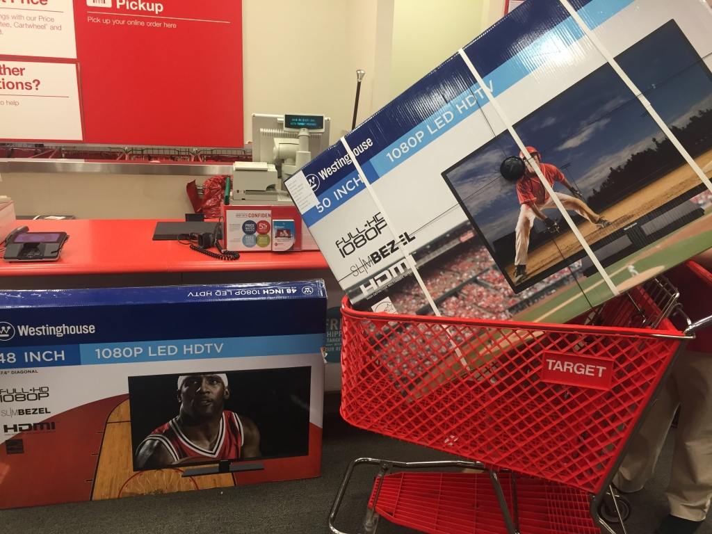 westinghouse 48 inch tv being exchanged for in-stock 50 inch at target