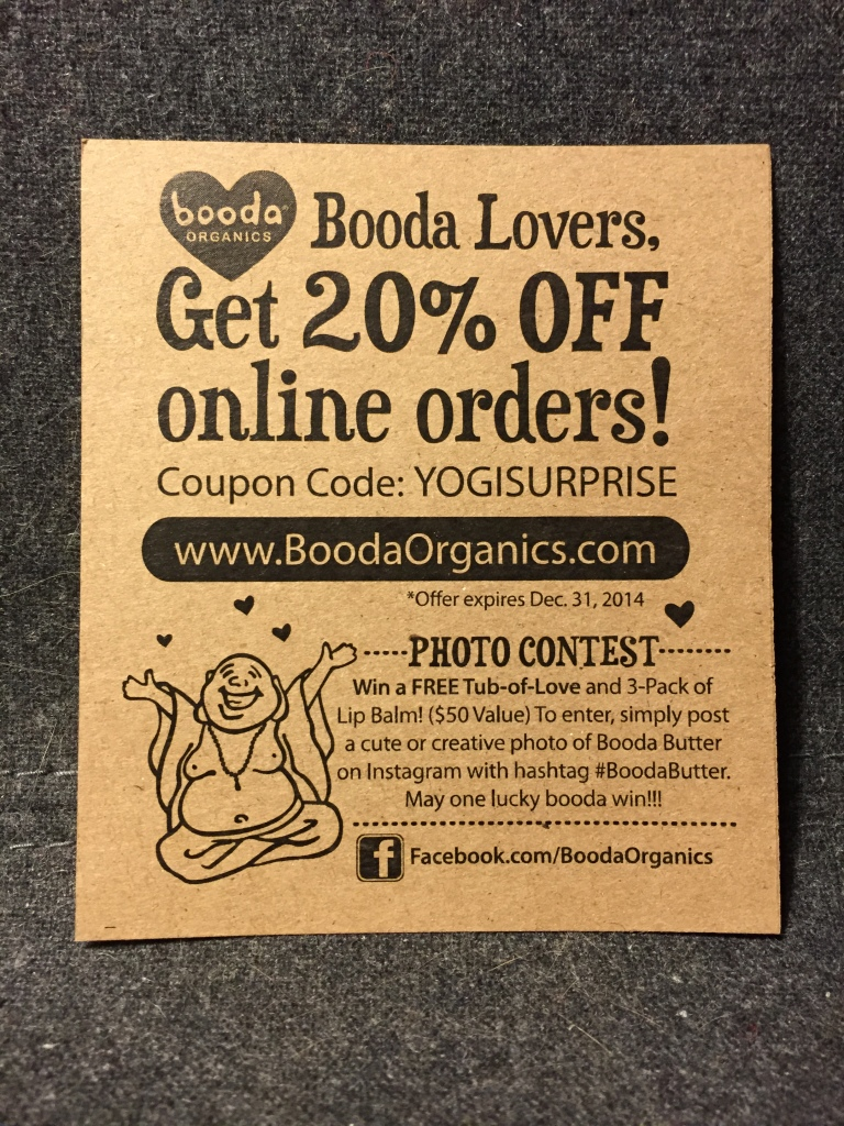 booda butter offer card in yogi surprise box with 20% off orders code