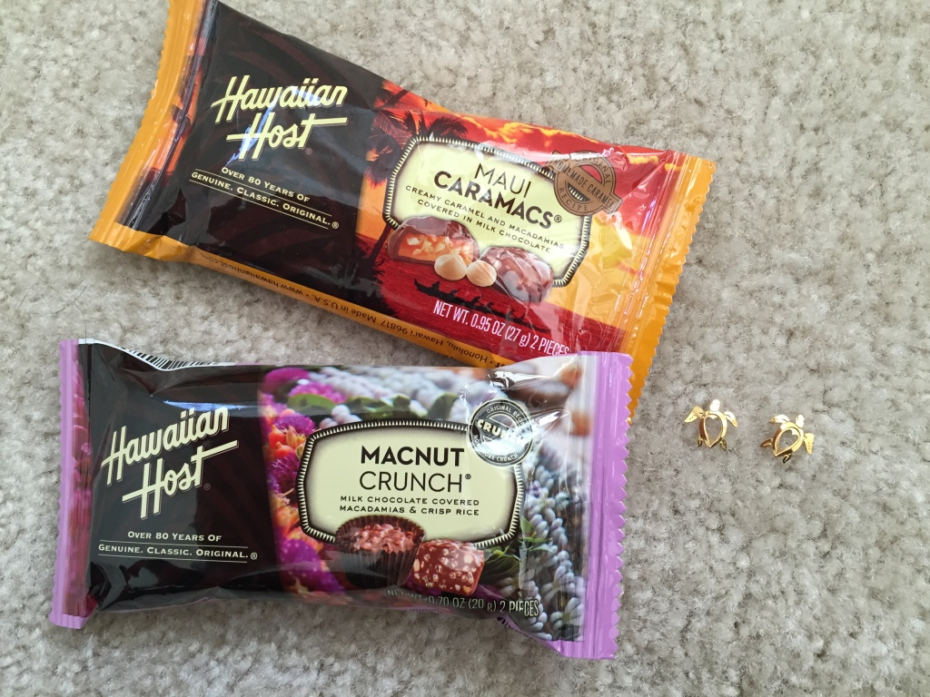 hawaiian host macadamia chocolates from costco and gold sea turtle earrings from hilo hattie