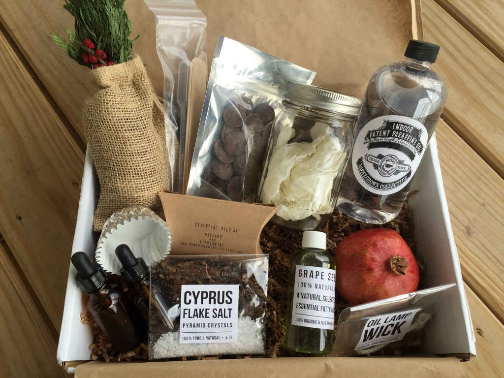contents of the homegrown collective november 2014 box with reset yourself theme