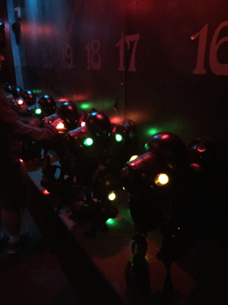 laser tag gear hanging on the wall