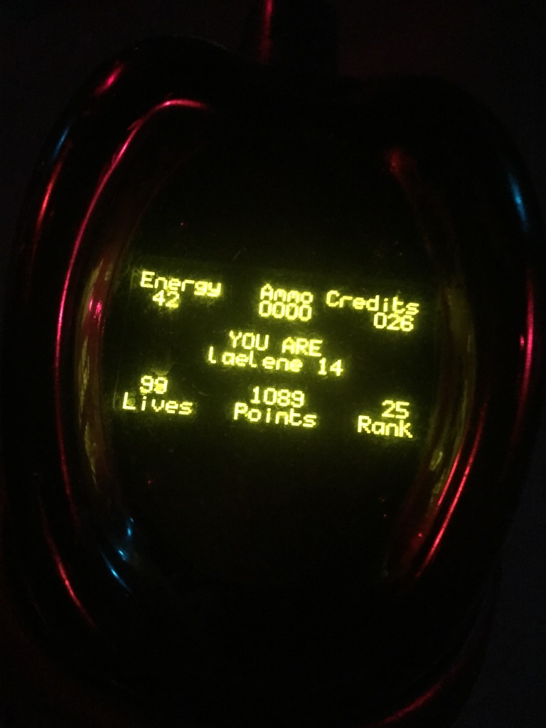 laser tag gun display panel showing stats