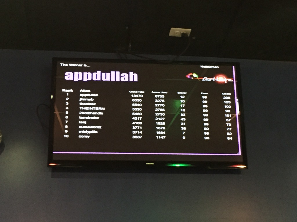 scoareboard listing ranking and stats for players after laser tag round