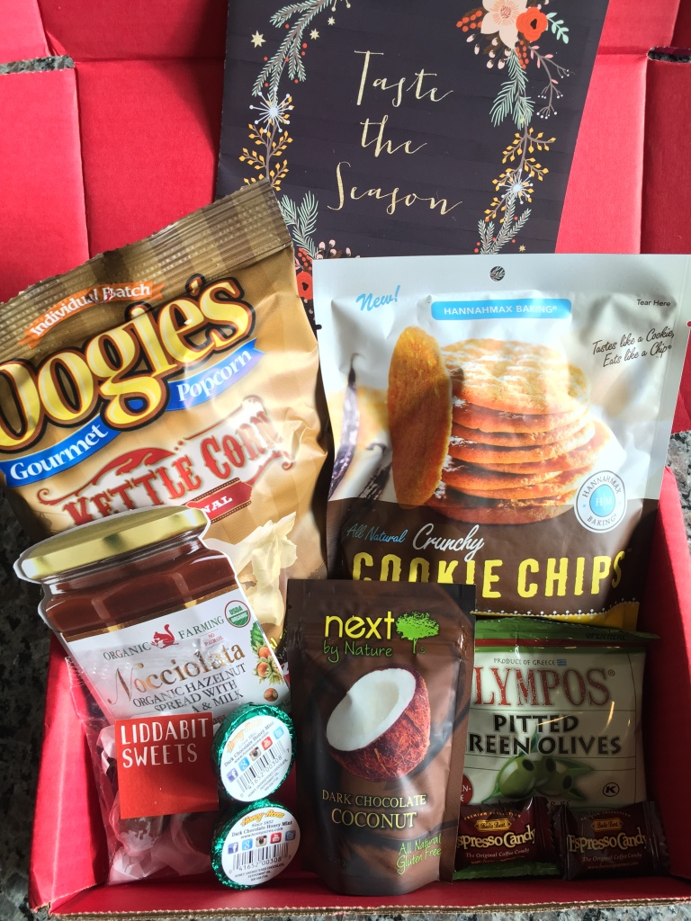 contents of december 2014 love with food box including eight snacks