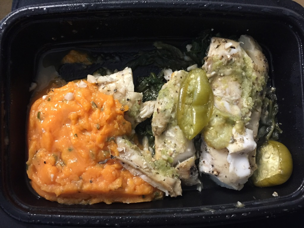 power supply garlic baked cod with tomatillo dressing, spinach, and herbed mashed sweet potatoes mixitarian dinner meal open