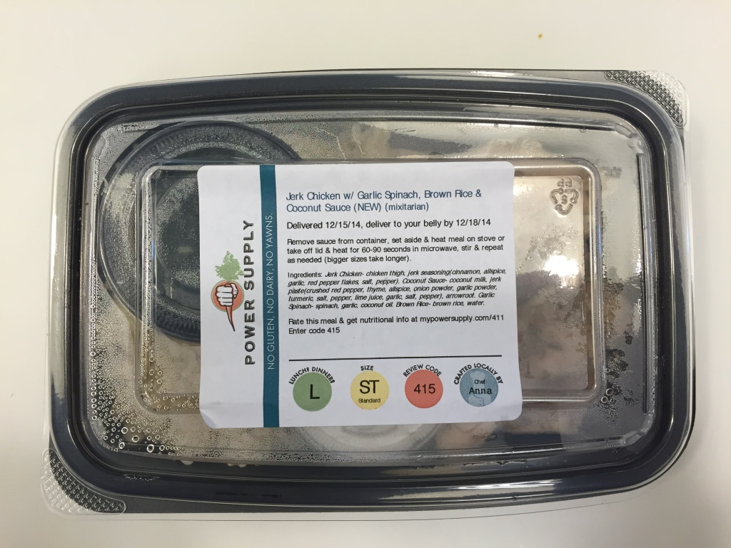 power supply jerk chicken with garlic spinach, brown rice, and coconut sauce mixitarian lunch meal in box