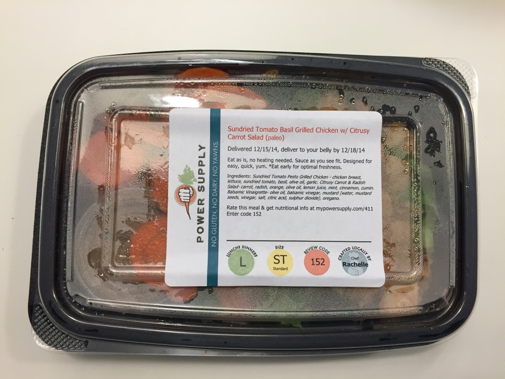 power supply sundried tomato basil grilled chicken with cirtusy carrot salad paleo lunch meal in box