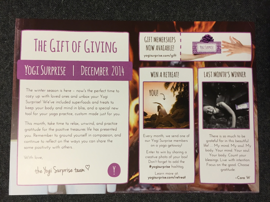 yogi surprise dec 2014 info card with gift of giving theme