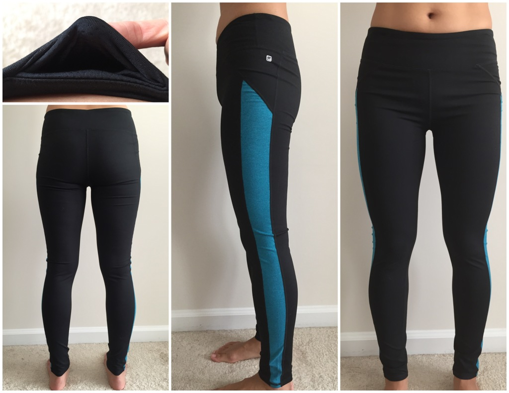 collage of front, back, side, and hidden pocket of fabletics ende leggings in black/teal stripe