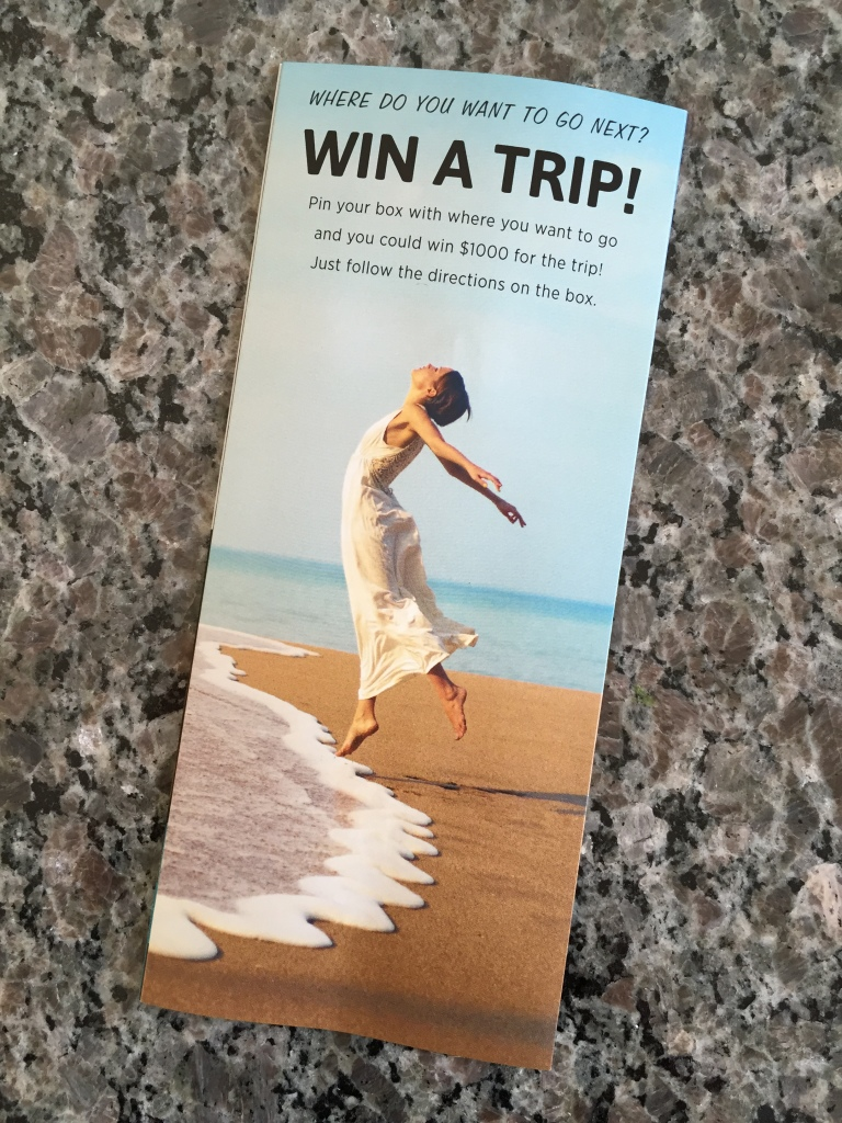 escape monthly january portland box info card back with chance to win a trip details