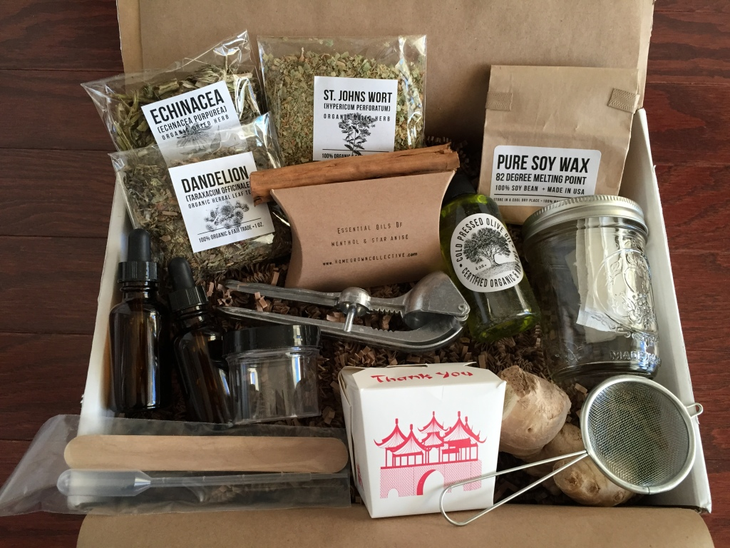 contents of the homegrown collective december 2014 box with homegrown remedies and cure-alls theme