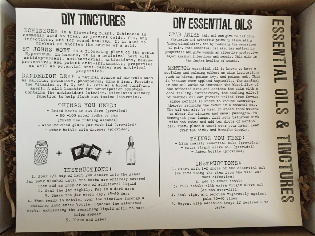 the homegrown collective december 2014 essential oils and tinctures info card