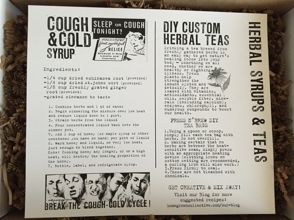 the homegrown collective december 2014 herbal syrups and teas info card