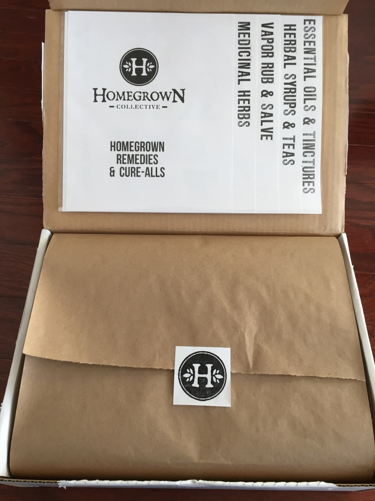 inside of homegrown remedies and cure-alls homegrown collective box with the info sheets on the inner lid