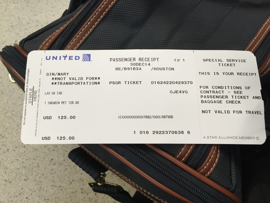 united in-cabin pet ticket receipt