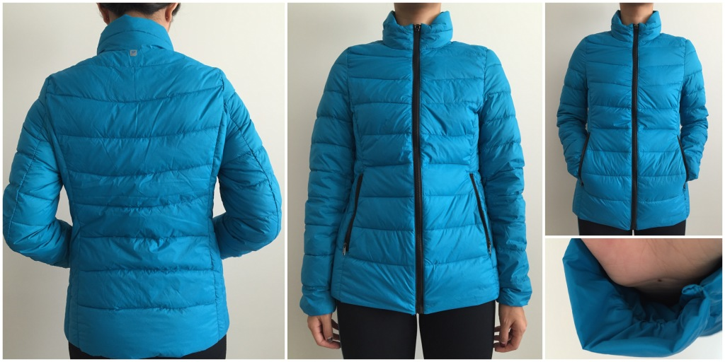 collage of front, back, pockets, and elastic sleeve of fabletics joni jacket in bright teal